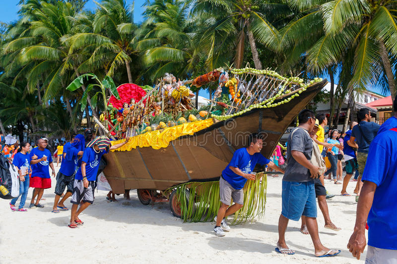 January 10th 2016. Boracay, Philippines. Festival Ati-Atihan. U. Nidentified people on parade in carnival costumes. Documentary Editorial Image royalty free stock photography