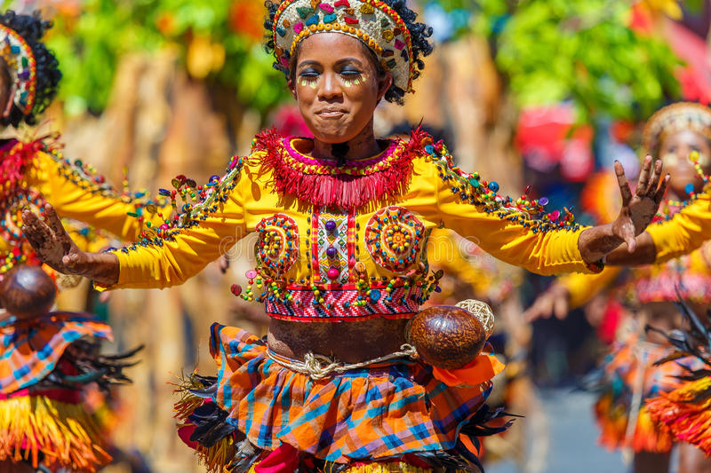 January 24th 2016. Iloilo, Philippines. Festival Dinagyang. Unidentified people on parade in carnival costumes. Documentary. Editorial Image royalty free stock image