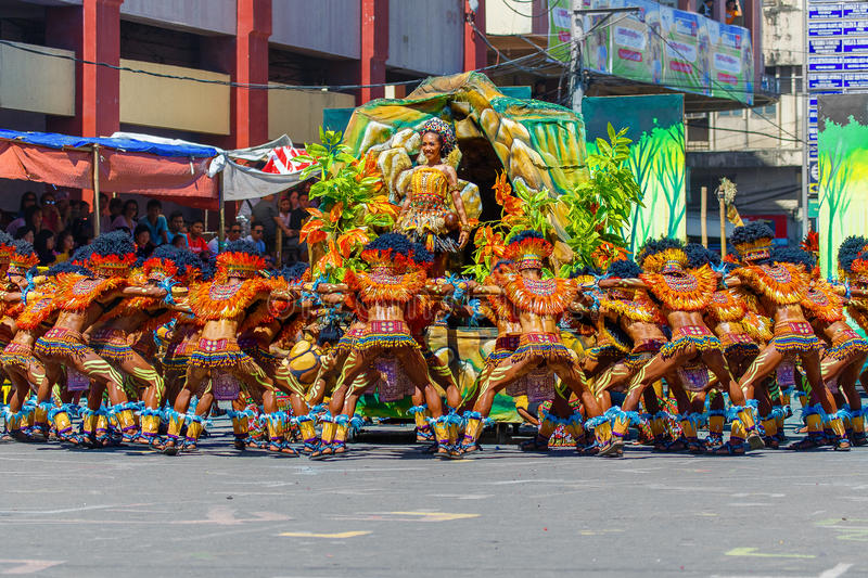 January 24th 2016. Iloilo, Philippines. Festival Dinagyang. Unidentified people on parade in carnival costumes. Documentary. Editorial Image stock photo