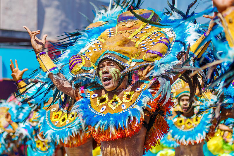 January 24th 2016. Iloilo, Philippines. Festival Dinagyang. Unidentified people on parade in carnival costumes. Documentary. Editorial Image royalty free stock images