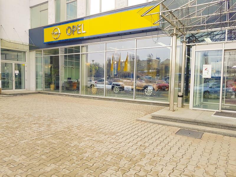 January 21, 2018 Ukraine, Kiev logotype Auto Show Opel stock image