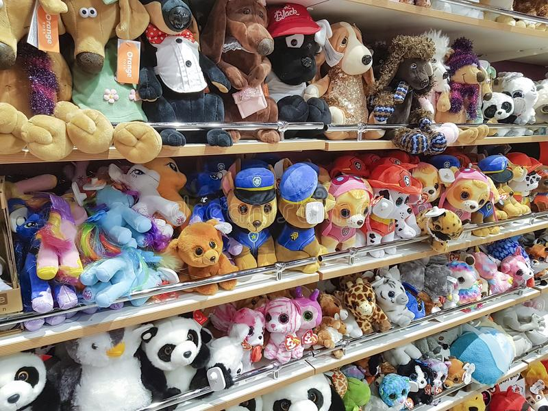 January 25, 2018 Ukraine, Kiev shop soft toys, children`s products in the shopping center stock photos