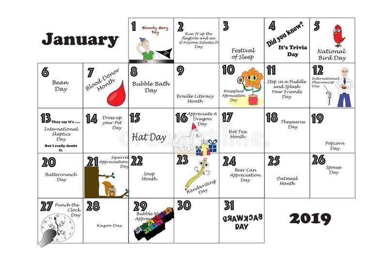 Event Calendar Illustration : January unusual holidays and quirky events stock