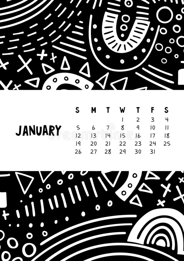 January. Vector colorful monthly calendar for 2020 year with abstract marker doodle vector illustration
