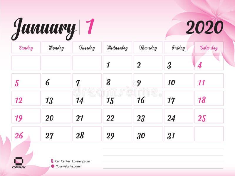 January 2020 Year Template, Calendar 2020 Vector, Desk Calendar Design, pink flower concept for cosmetics, beauty, spa, business. Week Start On Sunday, Planner royalty free illustration