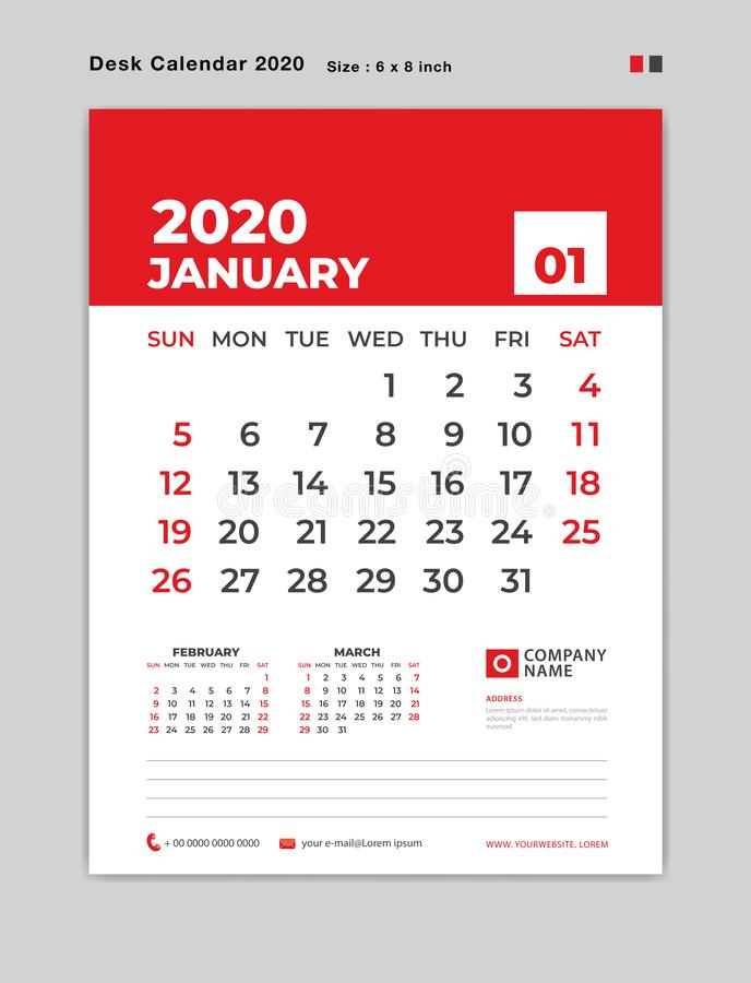 January 2020 year template, Desk Calendar for 2020 year, week start on sunday, planner, stationery, red Concept, vertical layout vector illustration