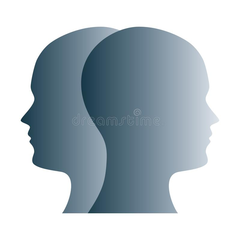 Janus face symbol made of gray silhouettes royalty free illustration