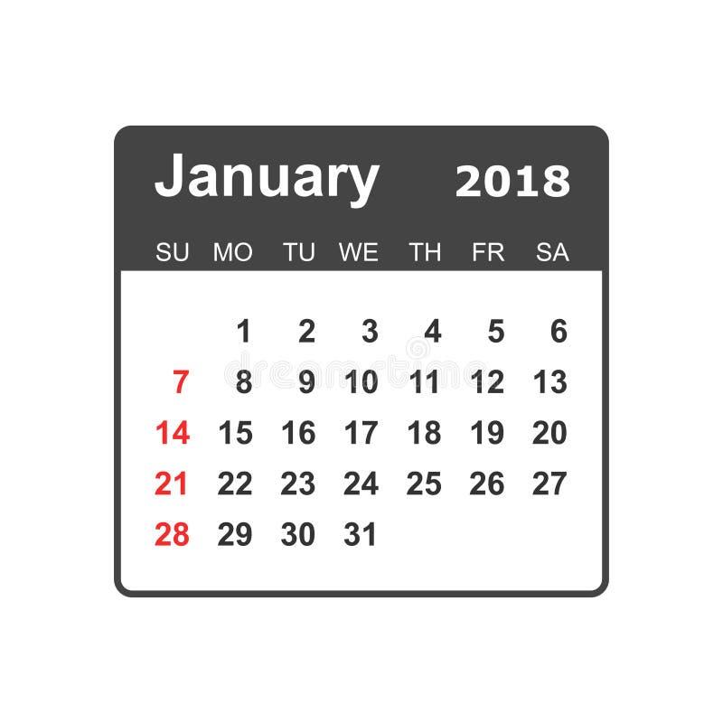 Janvier 2018 calendrier Calibre de conception de planificateur de calendrier St de semaine illustration de vecteur