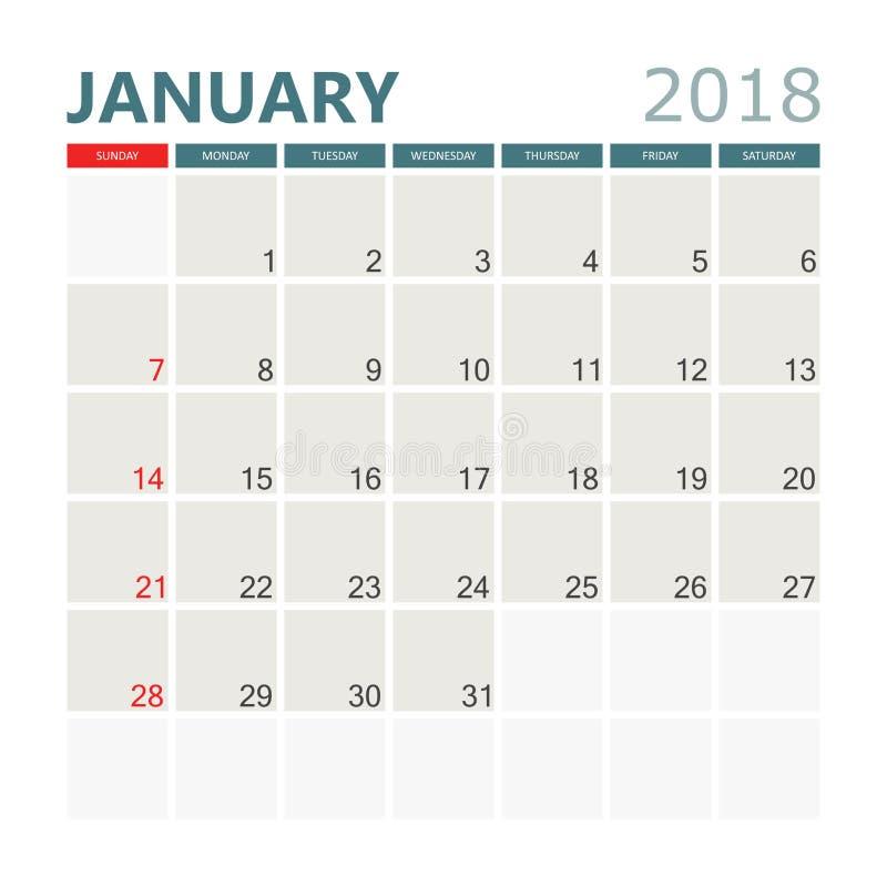 Janvier 2018 calendrier Calibre de conception de planificateur de calendrier St de semaine illustration stock