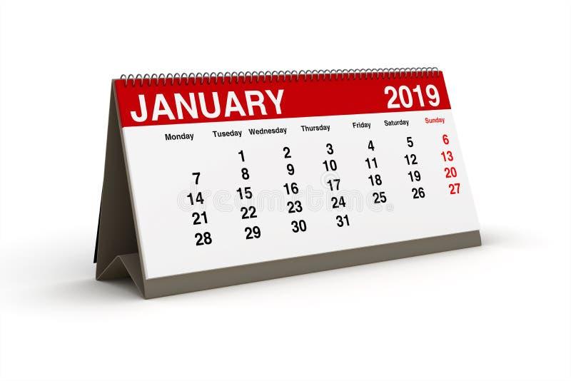 Janvier 2019 - calendrier de bureau comme illustration 3d illustration libre de droits