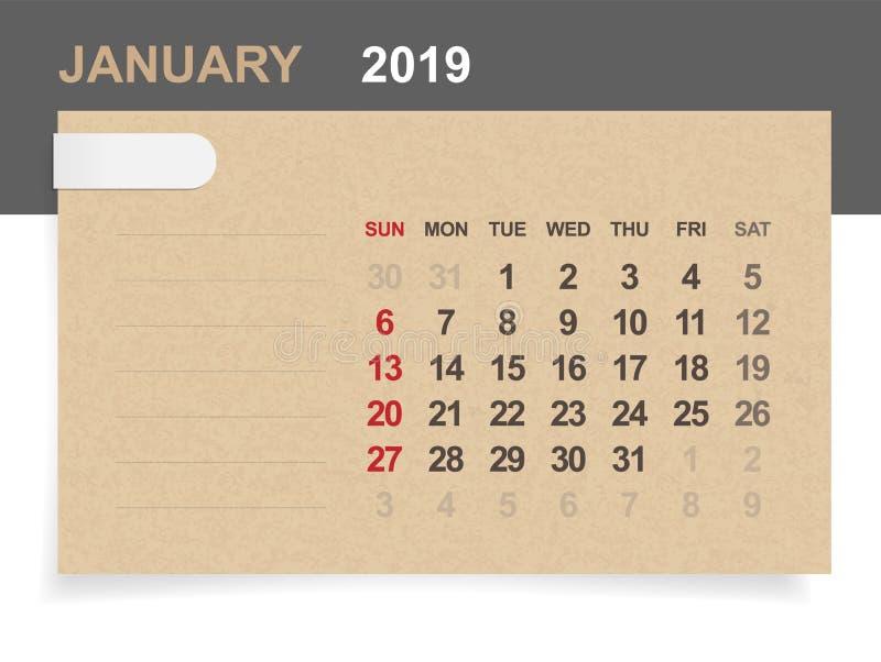 Janvier 2019 - calendrier mensuel sur le fond de papier brun et en bois illustration de vecteur