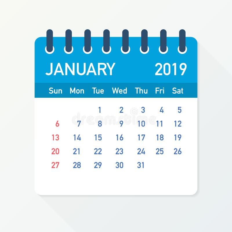 Janvier 2019 feuille de calendrier Calendrier 2019 dans le style plat Illustration de vecteur illustration de vecteur