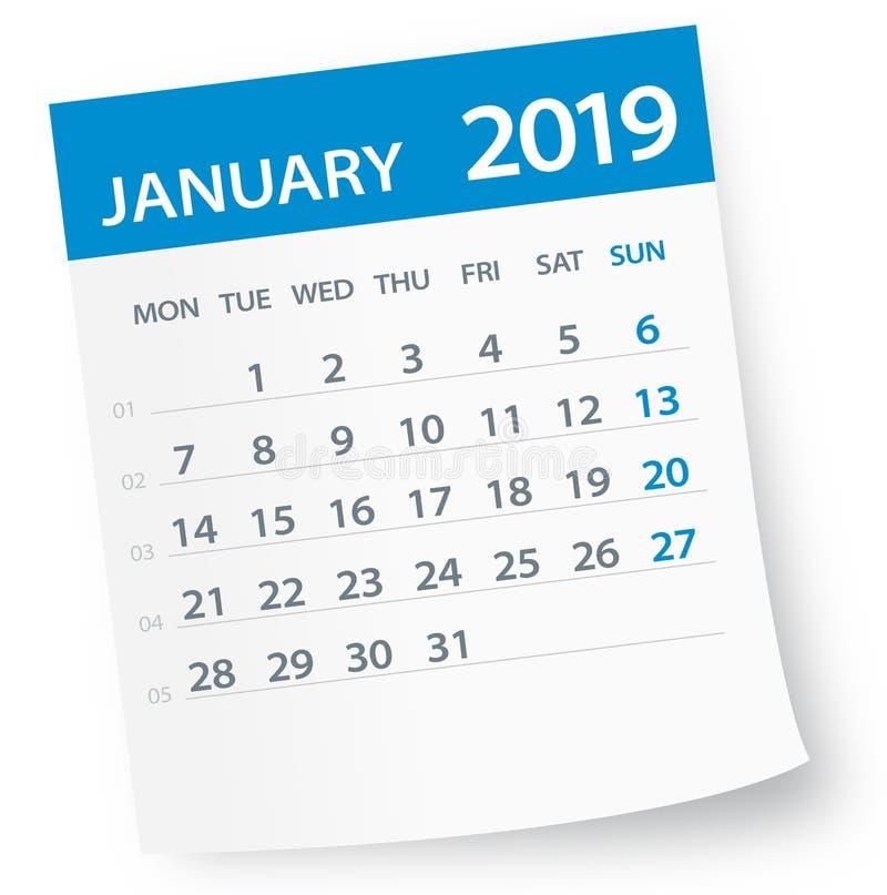 Janvier 2019 feuille de calendrier - illustration de vecteur illustration stock