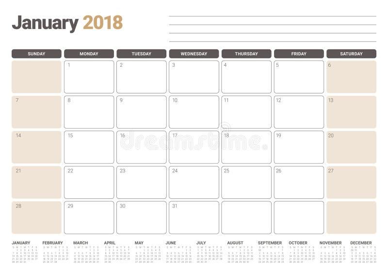 Janvier 2018 illustration de vecteur de planificateur de calendrier illustration stock