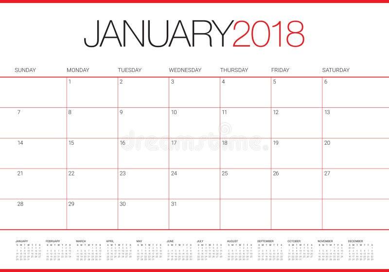 Janvier 2018 illustration de vecteur de planificateur de calendrier illustration de vecteur