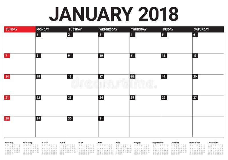 Janvier 2018 illustration de vecteur de planificateur de calendrier illustration libre de droits