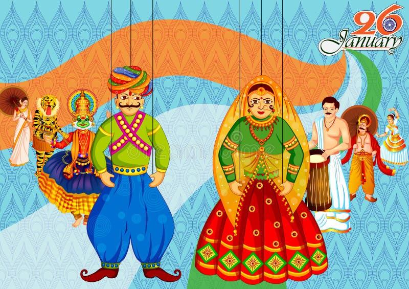 26 janvier jour heureux de République de fond d'Inde illustration stock