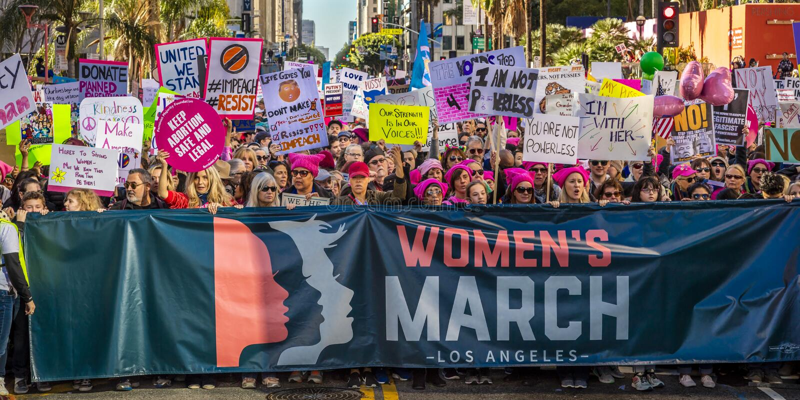 21 JANVIER 2017, LOS ANGELES, CA 750.000 participent en mars des femmes, activistes protestant Donald J Atout dans la nation plus photographie stock libre de droits