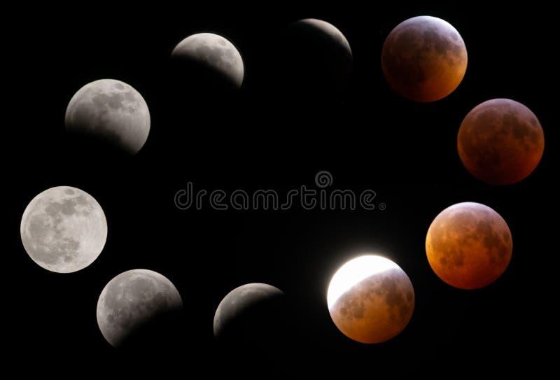 Janvier 2019 phases de lune de sang d'éclipse lunaire avec la caméra de DSLR photographie stock
