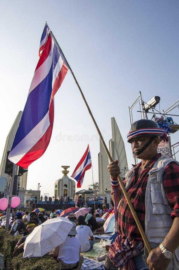 5 janvier 2014 : Protestataires anti-gouvernement à Bangkok image libre de droits