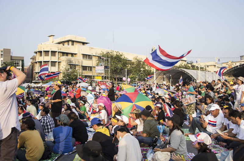 5 janvier 2014 : Protestataires anti-gouvernement chez Democra images stock