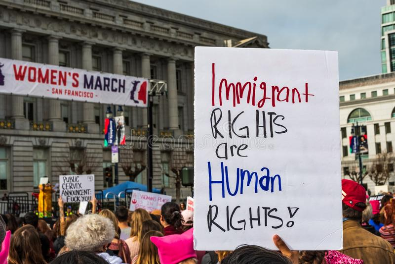 19 janvier 2019 San Francisco/CA/Etats-Unis - signe d'événement de mars des femmes photo stock