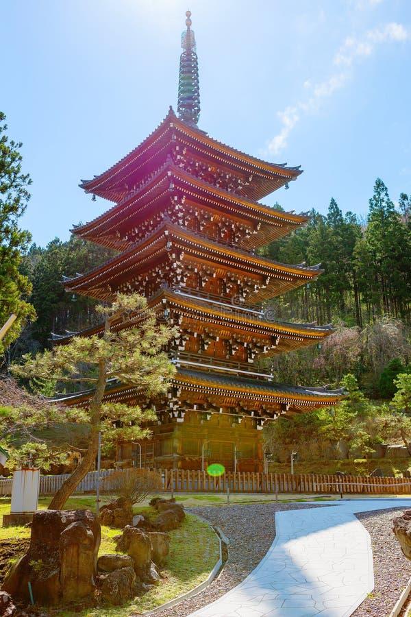 japão Aomori Templo de Seiryu Pagoda Cinco-Contado imagem de stock royalty free