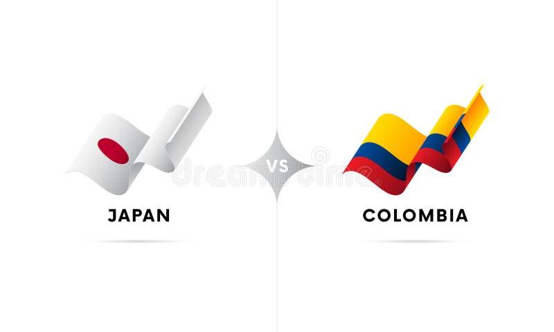 Japão contra Colômbia Futebol Ilustração do vetor ilustração do vetor