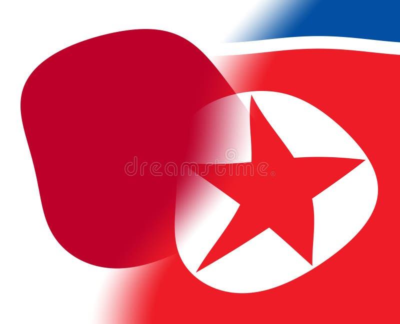 Japão e ilustração norte-coreana da cooperação 3d ilustração royalty free