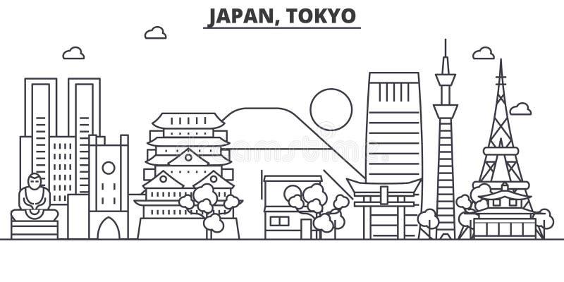 Japão, linha ilustração da arquitetura do Tóquio da skyline Arquitetura da cidade linear com marcos famosos, vistas do vetor da c ilustração stock