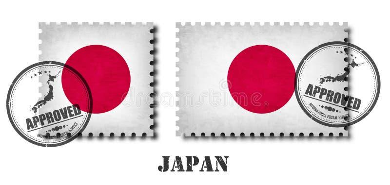 Japão ou o selo postal japonês do teste padrão da bandeira com textura velha do risco do grunge e afixam um selo no fundo isolado ilustração stock