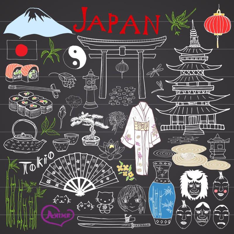 Japão rabisca elementos O esboço tirado mão ajustou-se com montanha de Fujiyama, porta xintoísmo, o sushi japonês do alimento e o ilustração stock