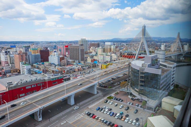 japón Aomori La vista de la ciudad de la altura fotos de archivo