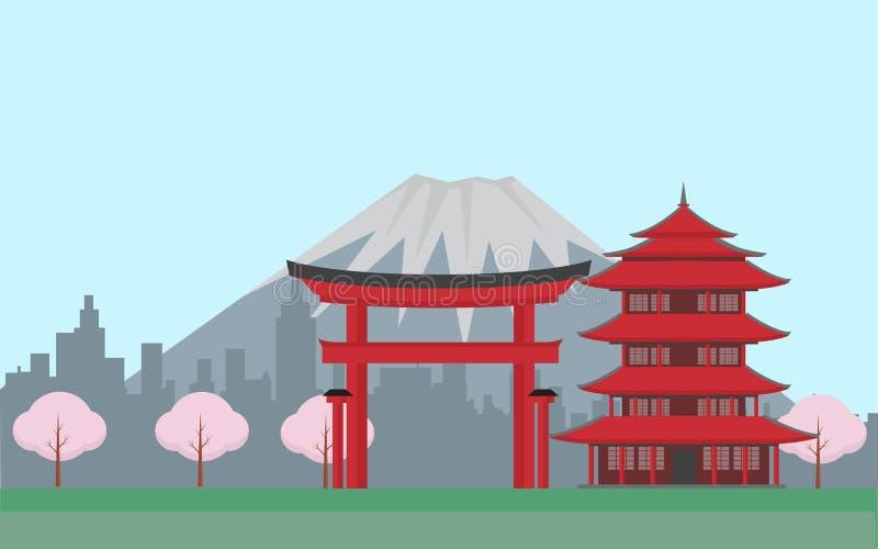 Japón con las montañas ilustración del vector