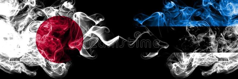 Japón contra Estonia, banderas místicas ahumadas estonias colocadas de lado a lado Grueso coloreado sedoso fuma la combinación de libre illustration