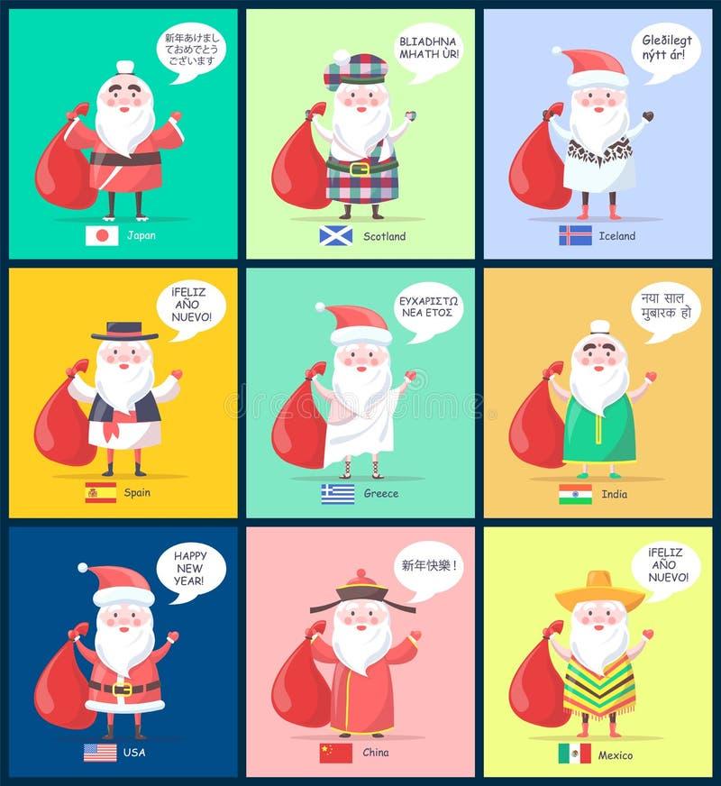Japón Escocia Santa Clauses Vector Illustration stock de ilustración