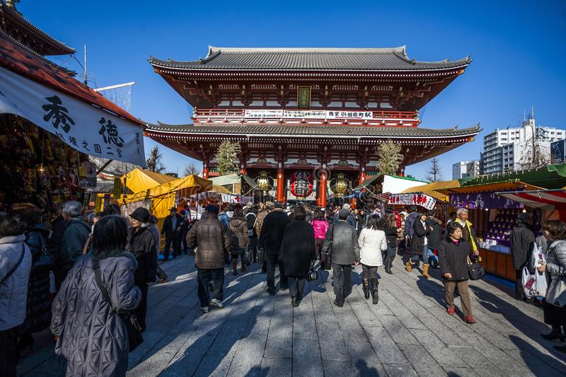 Japón - Tokio - el templo de Asakusa imágenes de archivo libres de regalías