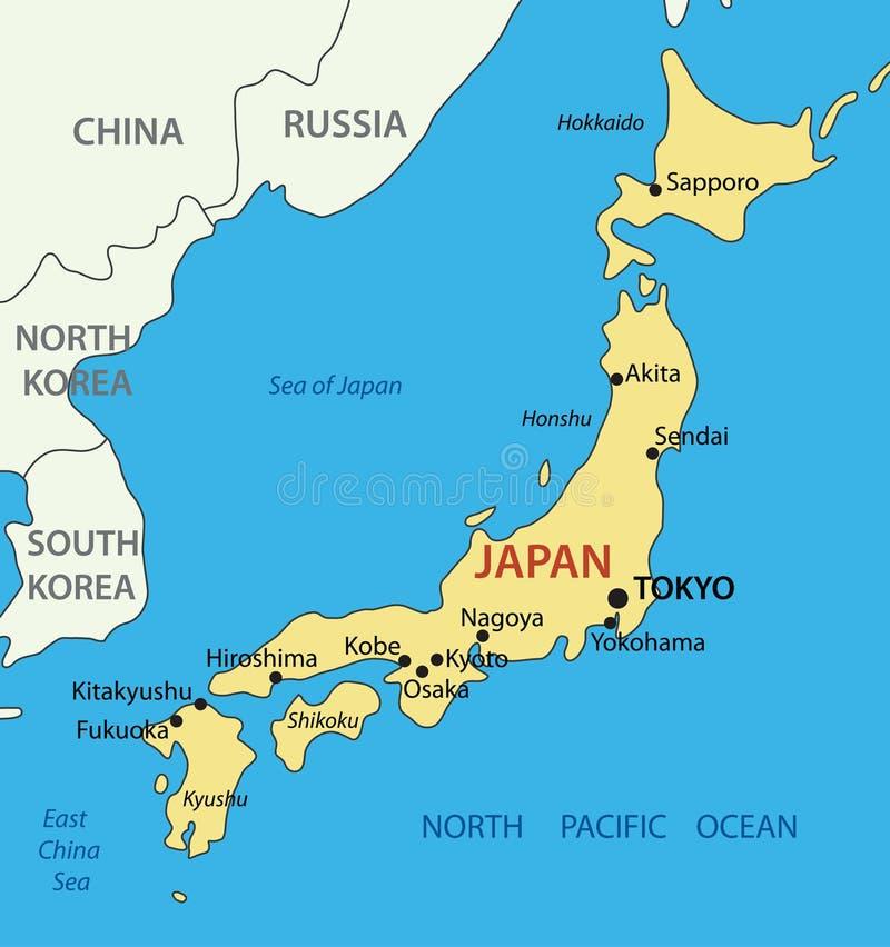 Japan - översikt stock illustrationer