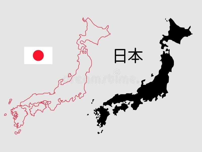 Japan översiktsöversikt och konturvektorillustration Text - Japan vektor illustrationer