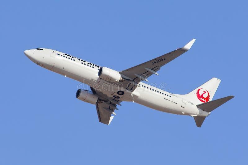 Japan Airlines JA303J Boeiing 737-800 take-0ff на авиапорте Пекина, Китае стоковые изображения