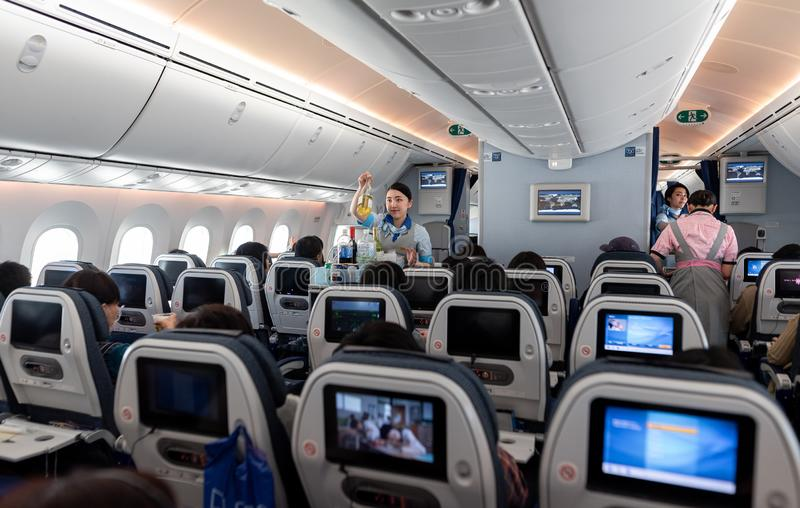 TOKYO, JAPAN - FEBRUARY 6, 2019: Japan ANA Airlines and Boeing 787 Dreamliner interior royalty free stock photo