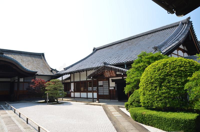 Japan ancient temple with green and courtyard. Roof walkway entrance royalty free stock photography
