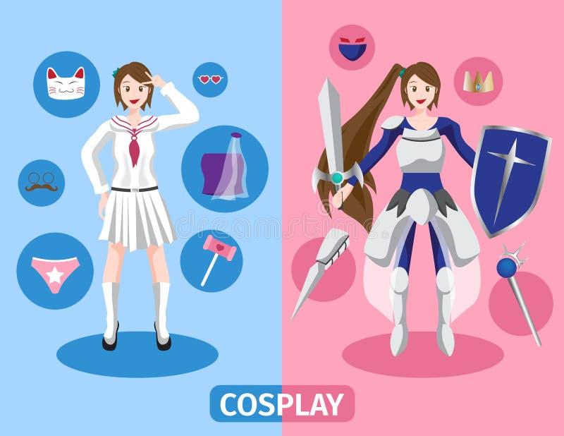 Japan anime cosplay , 2 cosplay set stock illustration