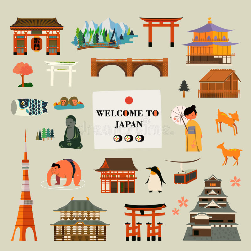 Japan attractions set. Japan culture and attractions symbol design collection vector illustration
