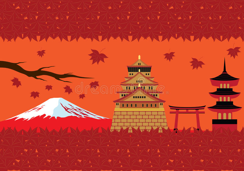 Japan Autumn Landmark och kulturvektor stock illustrationer