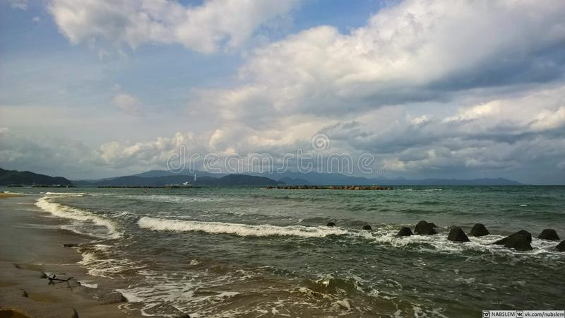 Japan beach. Many things in my mind stock photo