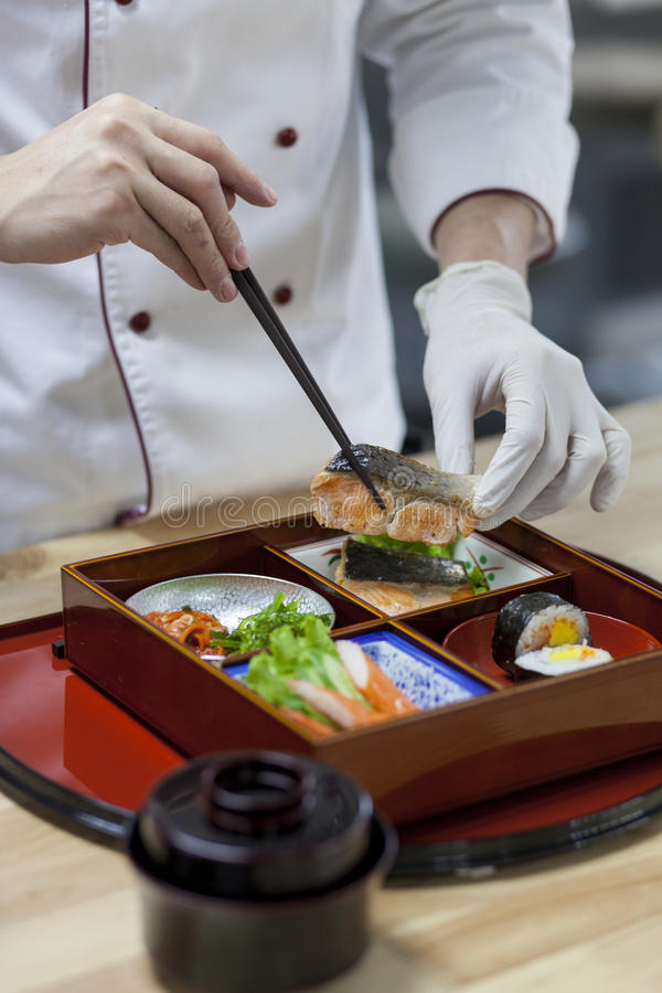 Japan Bento Preparing royaltyfri fotografi