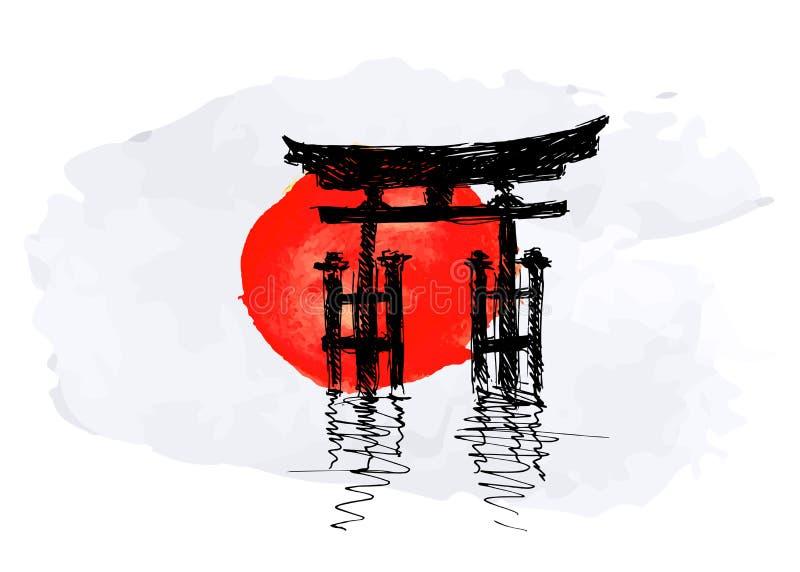Japan bevekelsegrund stock illustrationer