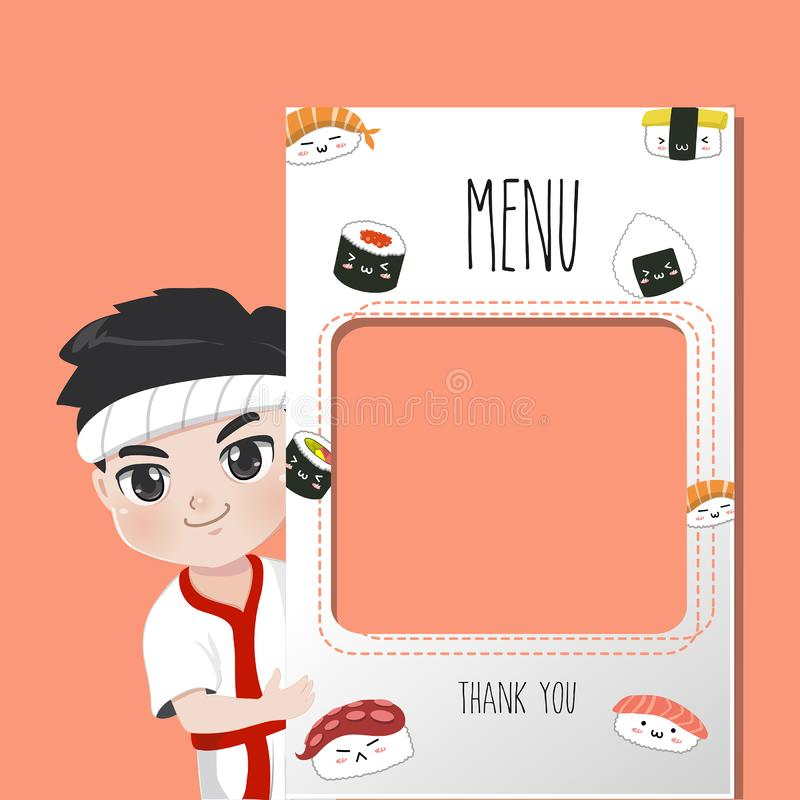 Japan chef  menu sushi delicious many style. vector illustration