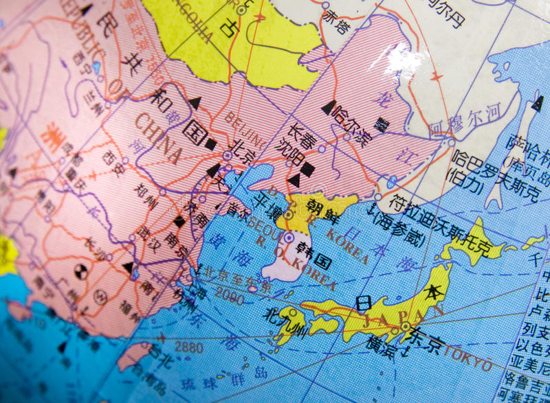 Japan, China, Korea map on a globe.